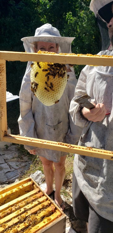 20181217_120106.jpg - Bee Boys and Sara Stover with Honeycomb